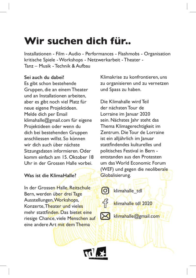 Klima Halle Treffen - Mach mit!, Klima Halle Flyer Back