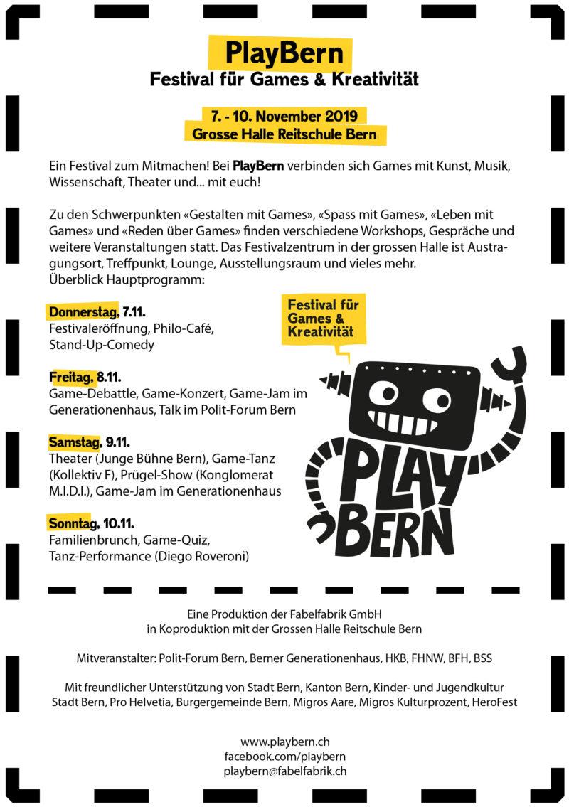 PlayBern – Festival für Games und Kreativität, Flyer Play Bern back